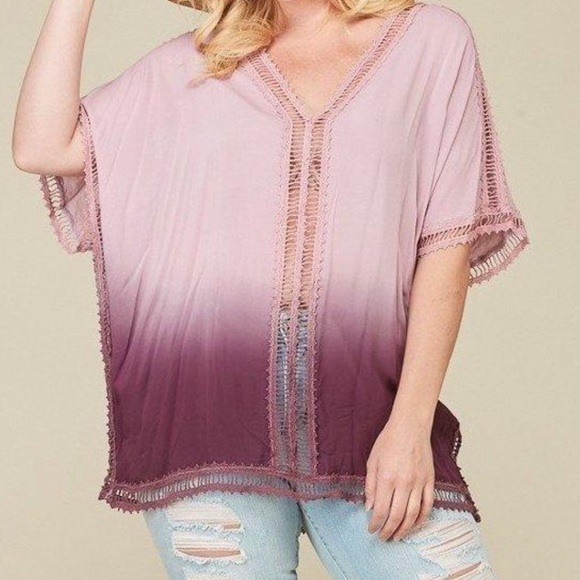 Other - Plus Size Cover-Up Tunic Top Ombre Dip-Dye Purple